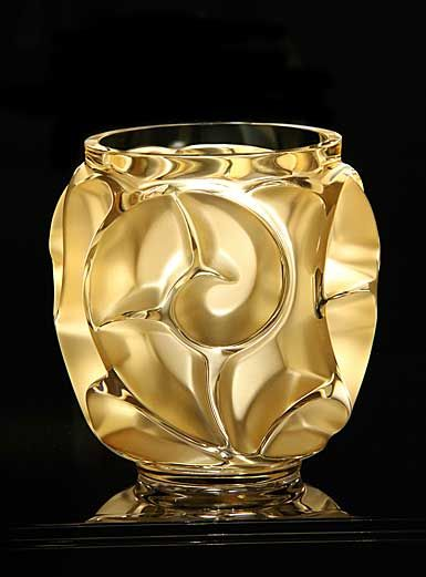 Lalique Tourbillons Gold Luster Vase, Small