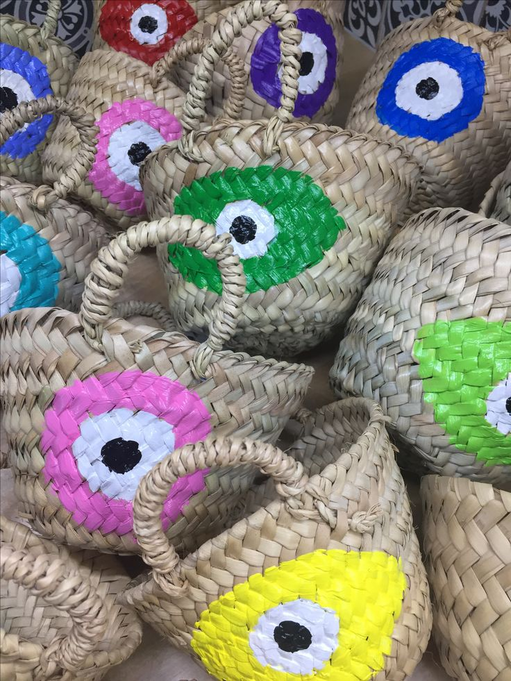 evileye handpainted straw baskets by cotton prince www.cottonprince.gr