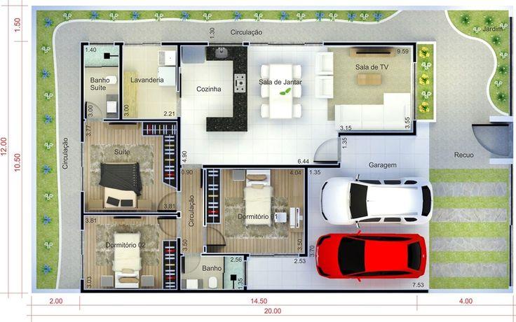 Casa térrea com garagem para dois carros          . Planta para terreno 12x20