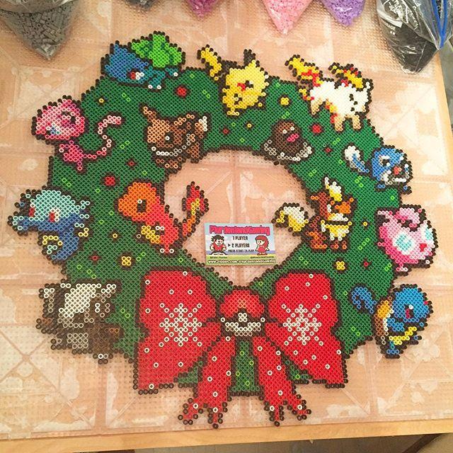 Pokemon Christmas wreath perler beads by tyler_plurden