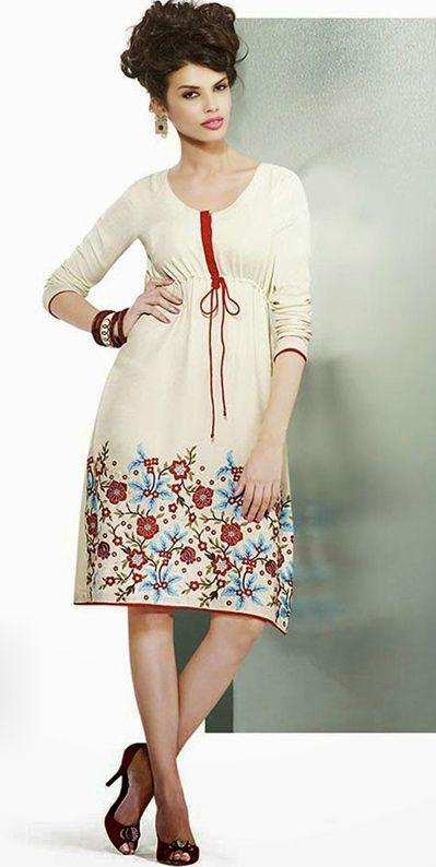 USD 61.45 Cream Pasmina Designer Kurti  40104