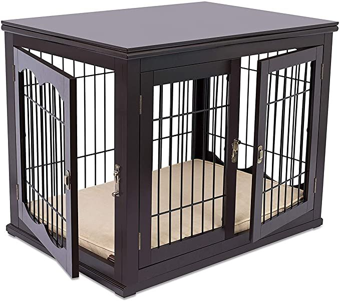Amazon Com Internet S Best Decorative Dog Kennel With Pet Bed Small Dog Double Door Wooden Wire Dog Ho Dog Kennel Dog Kennel Outdoor Dog Crate Furniture