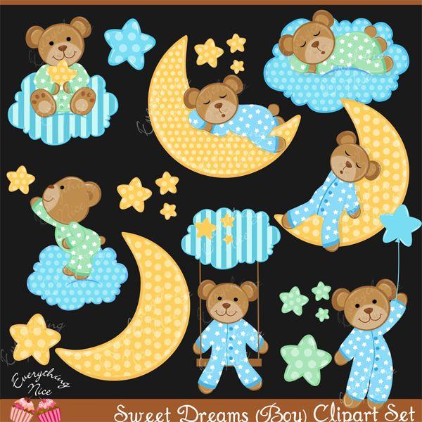 Sweet Dreams Boy Clipart Set