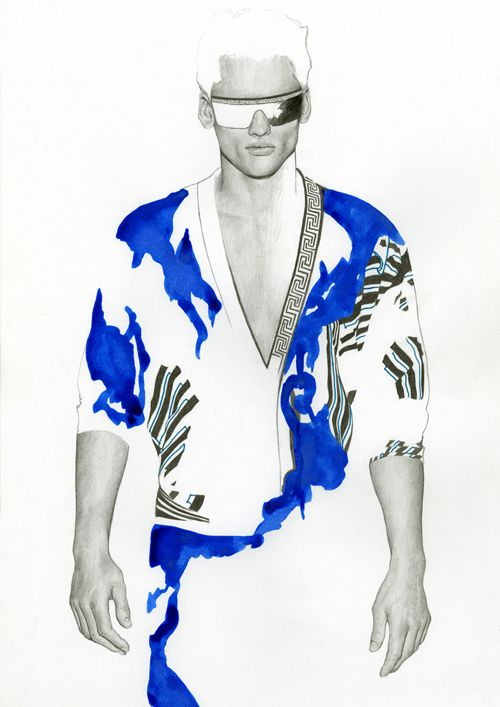 Versace Print Illustration by Richard Kilroy #illustration #drawing #fashion illustration