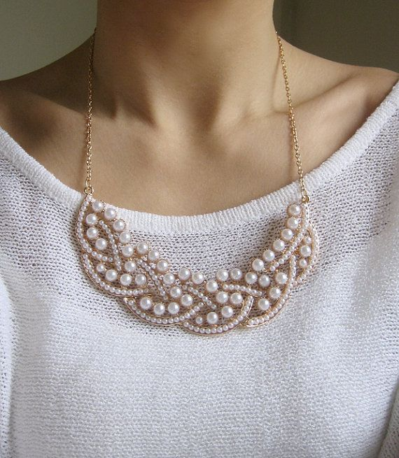 White Pearl Statement Necklace $26.90