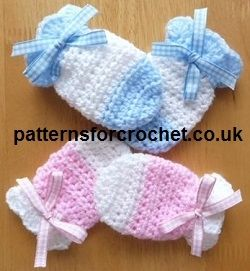 There is a free pattern, but it is a little difficult to find on this site.    Baby Mitts Free Crochet Pattern