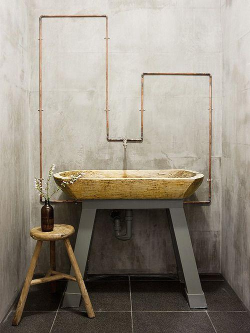 Exposed plumbing industrial design style.