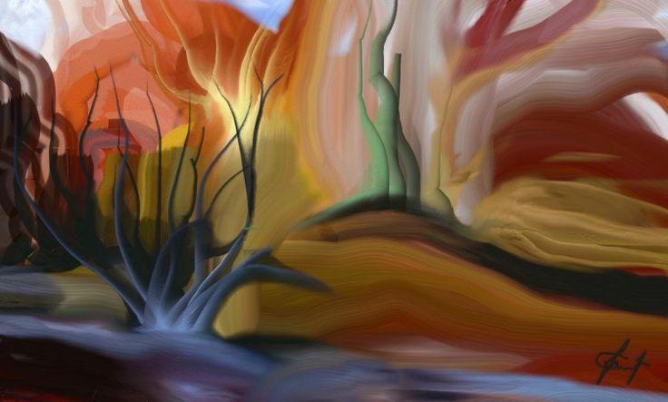 état d'âme - Digital Arts,  50x55 cm ©2013 par Gabriela Simut -  Arts numériques, nature, arbres, collines, état d'âme