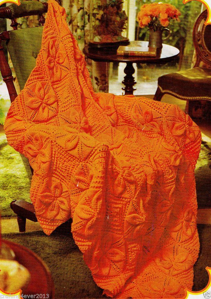 VINTAGE 70S ORANGE FLOWER RUG BLANKET RETR0 132 CM SQUARE 8 PLY KNITTING PATTERN