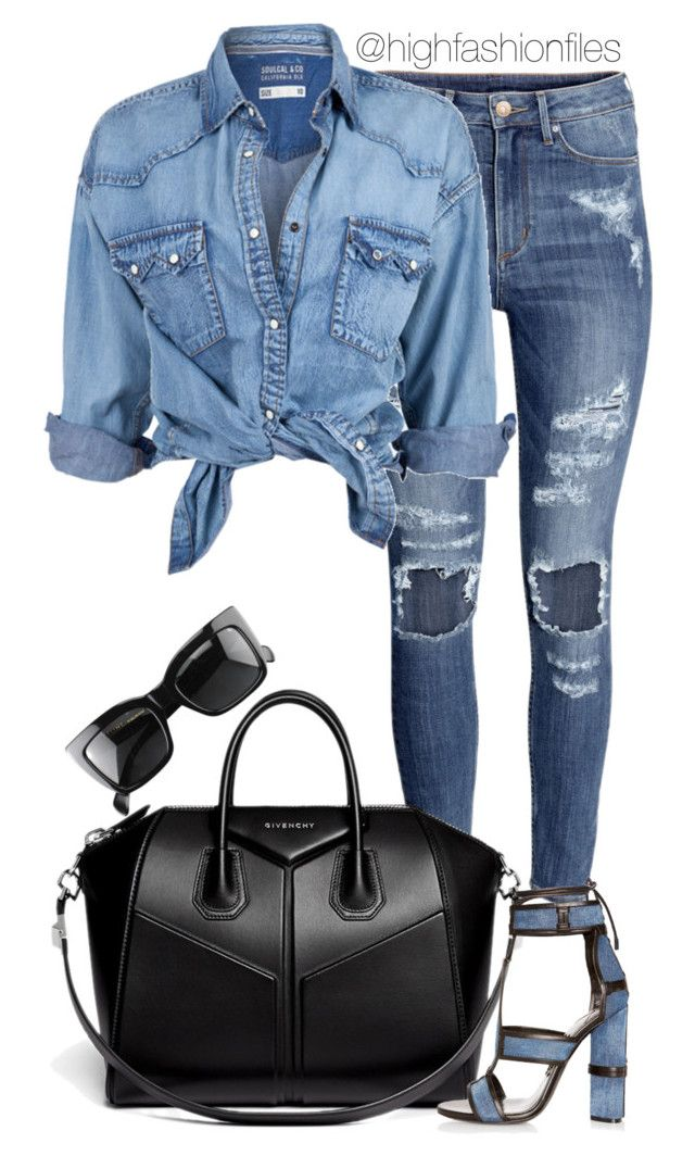 """""""Denim Day"""" by highfashionfiles ❤ liked on Polyvore featuring H&M, Givenchy, Tom Ford, Soul Cal and CÉLINE"""