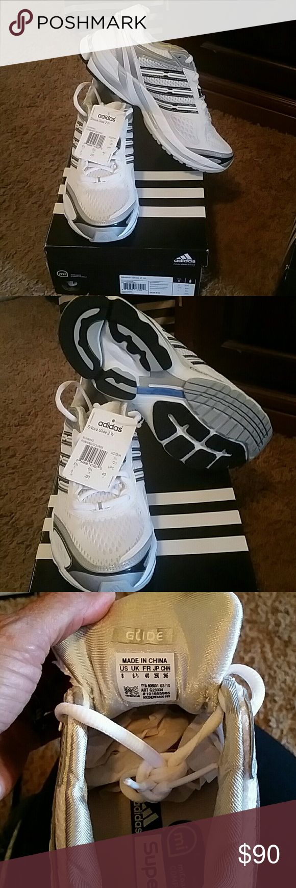 Adidas SNova Glide 2 W Running Shoes Brand new women's running shoe. White with black and silver. Never worn. Adidas Shoes Athletic Shoes