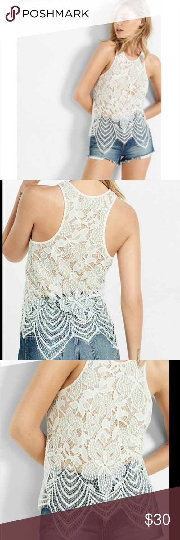 Express Lace Tank Top Express Ivory All Over Scalloped Lace Tank Top. Shell: 100% Nylon.  Lining: 60% Cotton / 40% Modal Express Tops Tank Tops