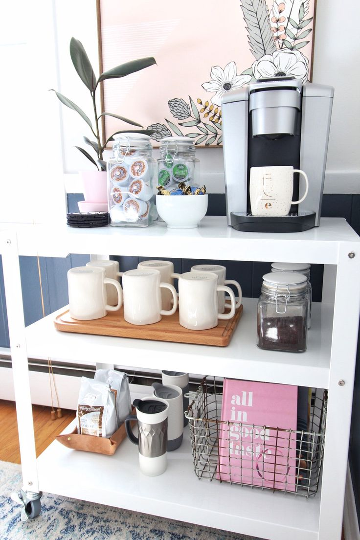 Put the rosé away and bust out your favorite mugs. The coffee cart is the new bar cart, my friends! You better believe I'm saving the mixology for the bartenders and letting my K-Elite™ brewer make me a cup instead. Coffee Carts, Coffee Nook, Coffee Bar Home, Home Coffee Stations, Coffee Corner, Kitchen Coffee Bars, Mini Cafeteria, Coffee Bar Design, Bar Cart Decor