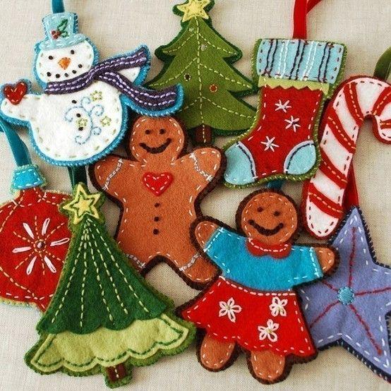 Xmas felt ornaments by ernestine