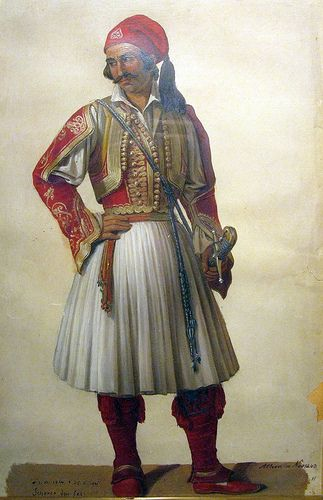 """Fighter 1821"" watercolour of Sherer, Athens 1843.National Historical Museum, Athens, Greece Αγωνιστής του 1821. Υδατογραφία του Sherer, Αθήνα 1843. Εθνικό Ιστορικό Μουσείο. Αθήνα."