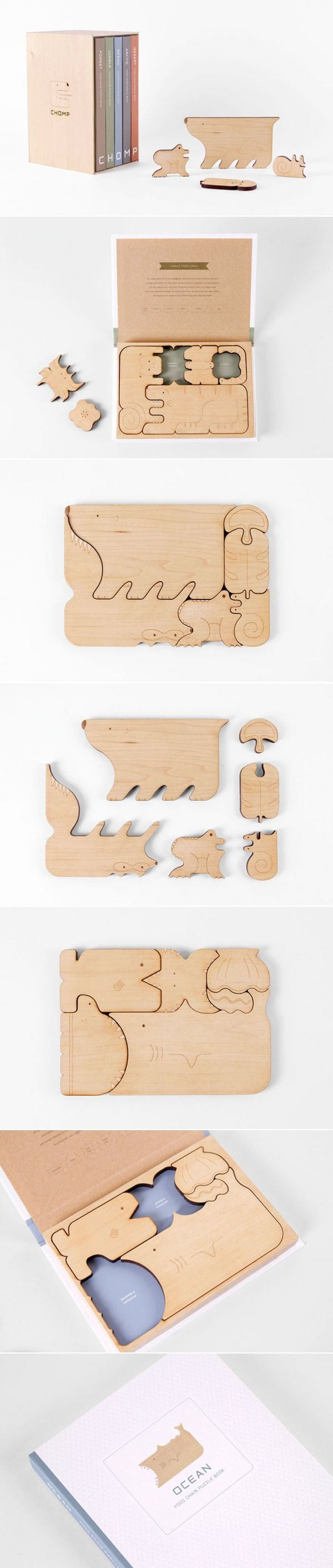 WOW - GREAT STUFF // The beautifully designed CHOMP food chain puzzle books by Mirim Seo and Kelly Holohan. We want one!