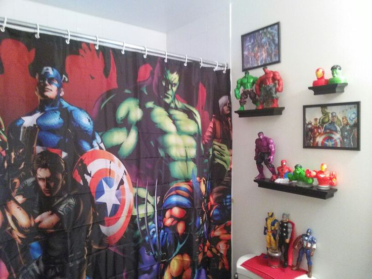 Avengers bathroom if this was in our bathroom my brother would never wanna leave the bathroom.
