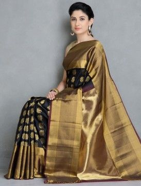 Black Kanchi Pattu Silk Handwoven Saree