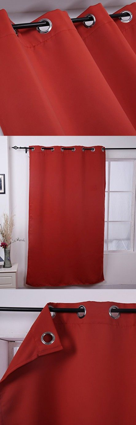 Deconovo Grommet Thermal Insulated Blackout Curtain Home Decor 52x63 Inch Orange Red