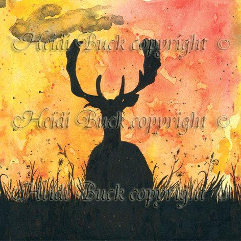 Fallow Buck Sunset Greetings Cards