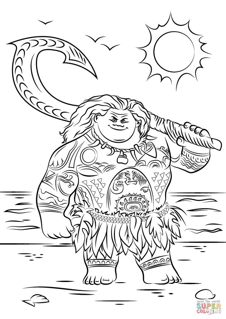 Maui From Moana Disney Coloring Pages Printable And Book To Print For Free Find More Online Kids Adults Of