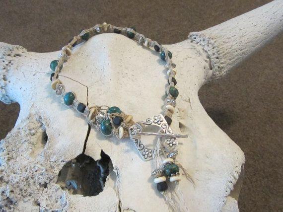 Western jewelry cowgirl statment necklace macrame by edanebeadwork, $45.00