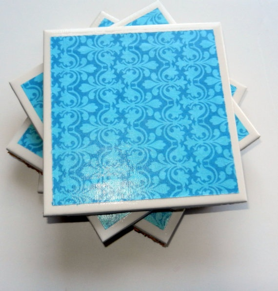 Bright Blue Patterned Set of 4 Coasters $15.00