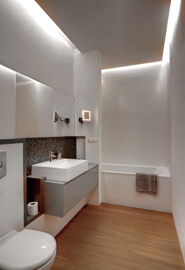 Badezimmer modern einrichten abgeh ngte decke indirekte for Badezimmer beleuchtung modern