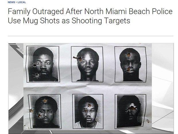 Imagem da rede de TV NBC6 mostra os alvos que teriam sido usado por policiais nos Estados Unidos (Foto: Reprodução/Site NBC6)  Policiais de Miami utilizaram fotos de criminosos negros em treinamen...