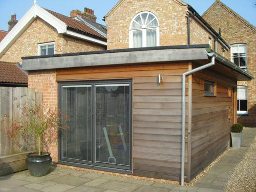 timber clad flat roof extension Google Search Roof