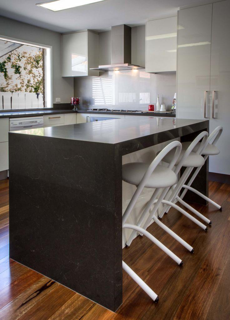 Modern kitchen. Black and white kitchen. Retro stools. www.thekitchendesigncentre.com.au