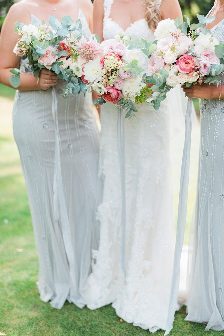 Romantic Pink & Coral Bouquets | Bride in Lace Enzoani \'Inaru\' Bridal Gown | Bridesmaids in Grey Embellished ASOS Dresses | Pink & Coral Country Wedding at Crabbs Barn, Essex | Kathryn Hopkins Photography | Film by Colbridge Media Services Ltd