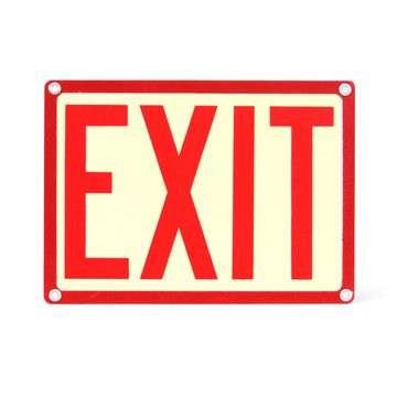 Red Industrial Exit Sign now featured on Fab   by Lackluster Co Red Exit Sign