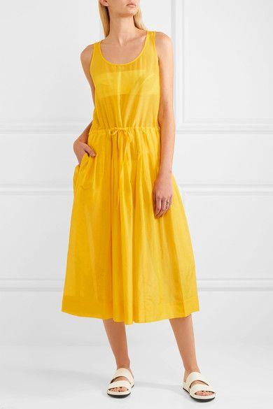 Diane von Furstenberg - Pleated Cotton And Silk-blend Gauze Dress - Yellow - x small