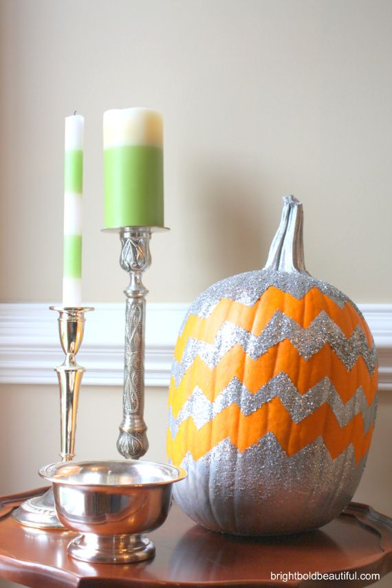 "How To Make a Chevron Pumpkin | Get the materials and instructions needed for your ""no carve"" pumpkin this year."