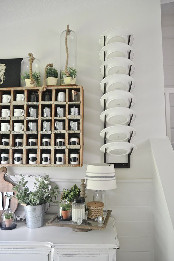 Rustic plate rack- lovely farmhouse dining room
