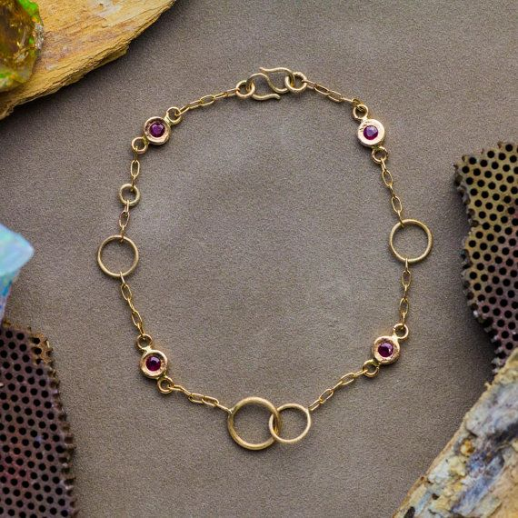 Name ❤Natural Ruby Bracelet in 14K Yellow Gold, Ruby Bracelet, Charms Gold Bracelet, Handmade Jewelry  Description: ❤Delightful 14K yellow gold