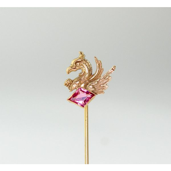 Antieke Edwardian Stickpin 14k gouden Griffin en roze toermalijn Late... (£160) ❤ liked on Polyvore featuring jewelry, victorian jewellery, 14 karat gold jewelry, pin jewelry, diamante jewellery and diamante jewelry