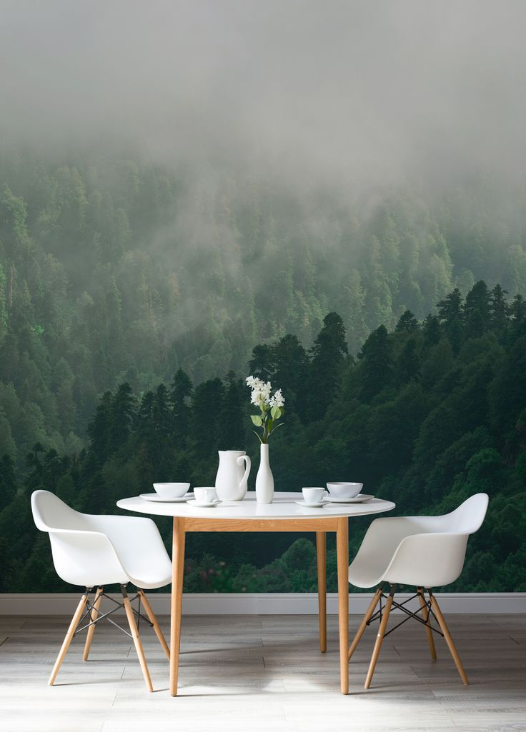 Create drama in your dining room spaces with this forest wallpaper. It brings beautiful tones of emerald and neutral shades into your home. Making a stunning backdrop to candlelit dinners.