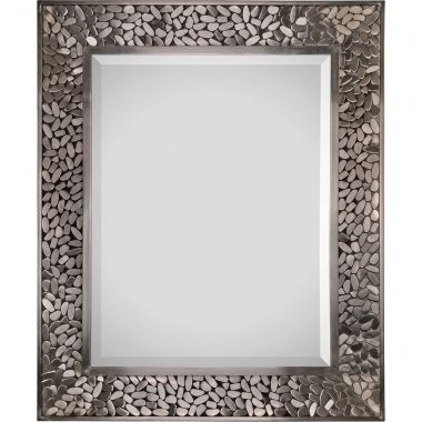 Both a neutral and unique piece, the Lexi features a soldered satin nickel plated frame resembling small pebbles. Finished with a bevelled center mirror.