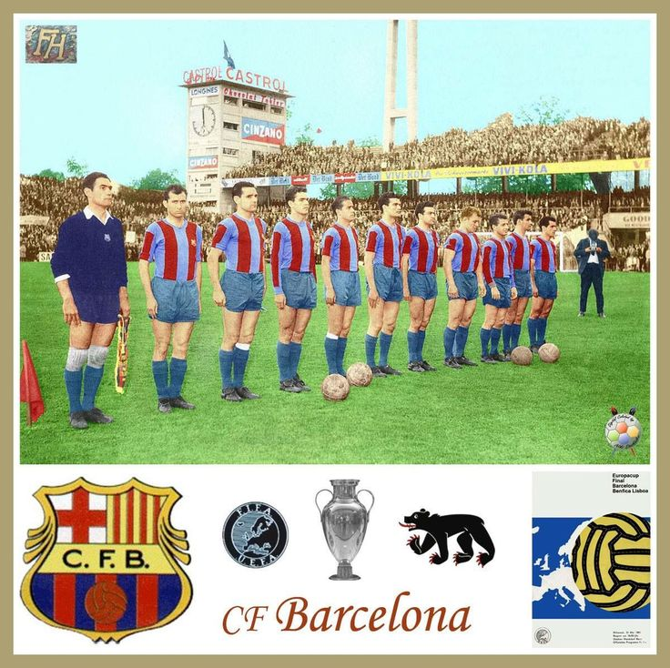 Barcelona team line up before the European Cup Final against Benfica in Bern in 1961.