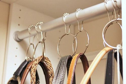 shower curtain rings and office supply rings to hang up purses in my closet