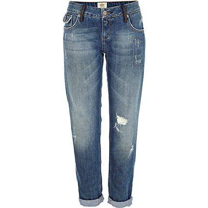 Mid wash distressed Cassie boyfriend jeans $50.00
