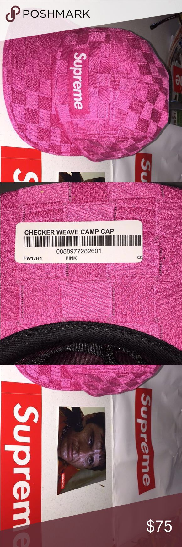 Pink checker wave Supreme Hat / Week 8 drop Brand new, comes in original package with a box logo sticker and a Scarface sticker ,208-320-8784 Supreme Accessories Hats