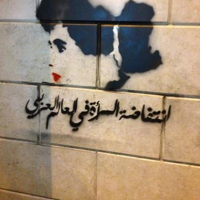 Women uprising in the Arab world graffiti (the woman's hair is the shape of the arab world's map) Amazing!