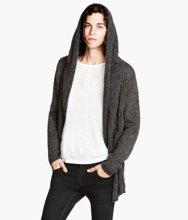 H & M mens boucle hooded cardigan
