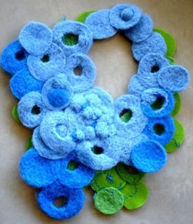 double color felted necklace