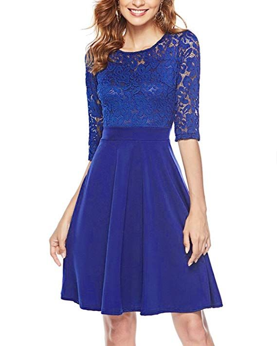 66d03a232085 Mixfeer Women s Vintage Floral Lace Cocktail Party Swing Dress with 3 4 Sleeves  Dark Blue.