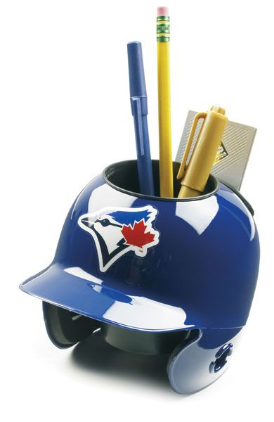 This Mini Helmet Desk Caddy is scaled down to 1/4 size of the full size on-field helmets. It is Officially Licensed by the Major League Baseball and has built in pockets for your pens, pencils and bus