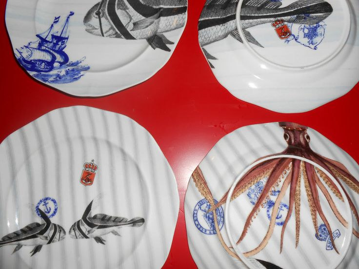 Anthropologie From The Deep Set of 4 salad plates ,nautical dishes ,octopus